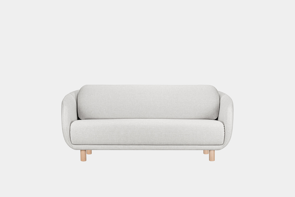 Bobo-sohva vaaleanharmaalla Hallingdal-kankaalla ja koivujalalla.
