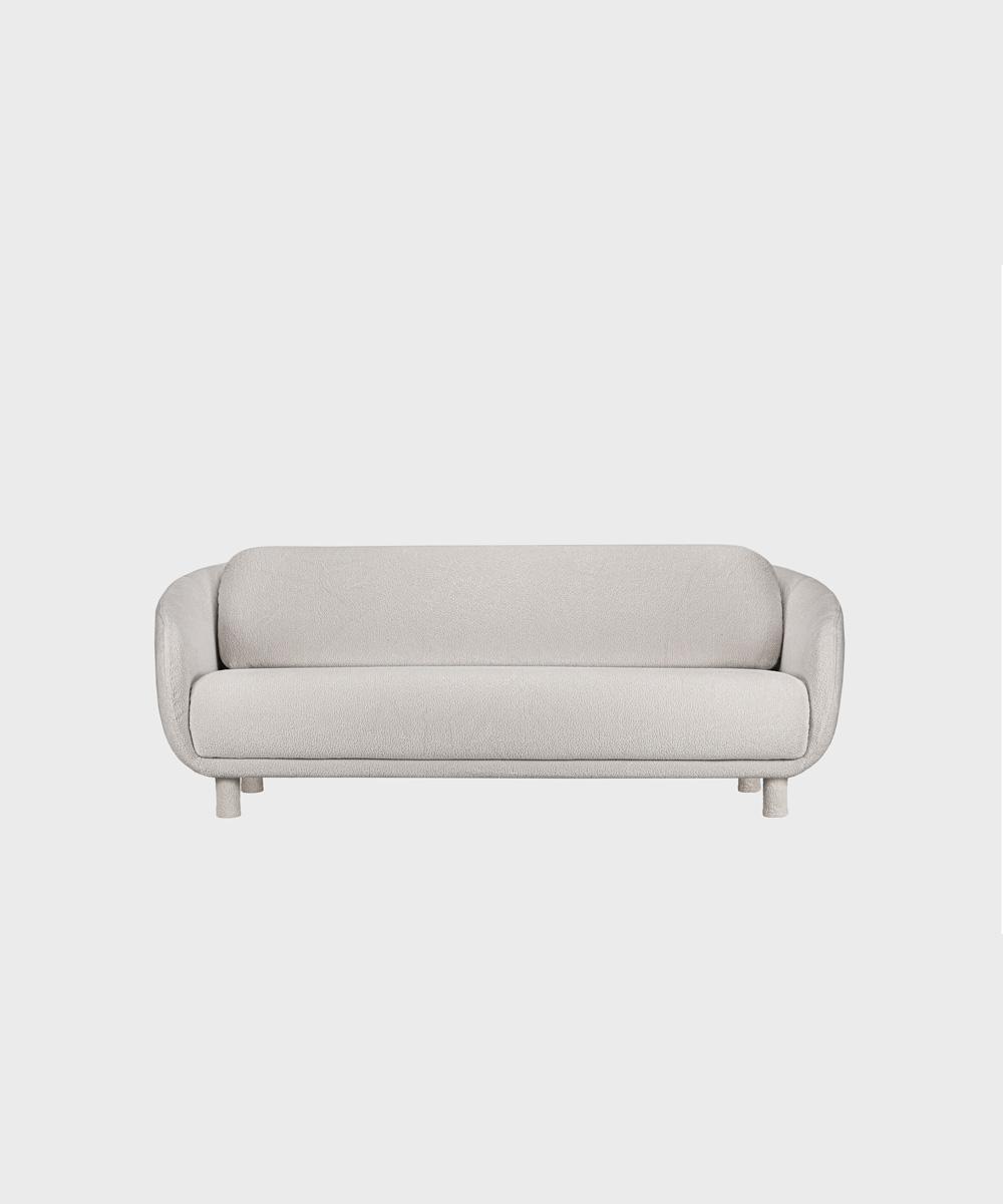Iso Bobo-sohva harmaalla Cloud-kankaalla ja irroitettavilla säärystimillä.