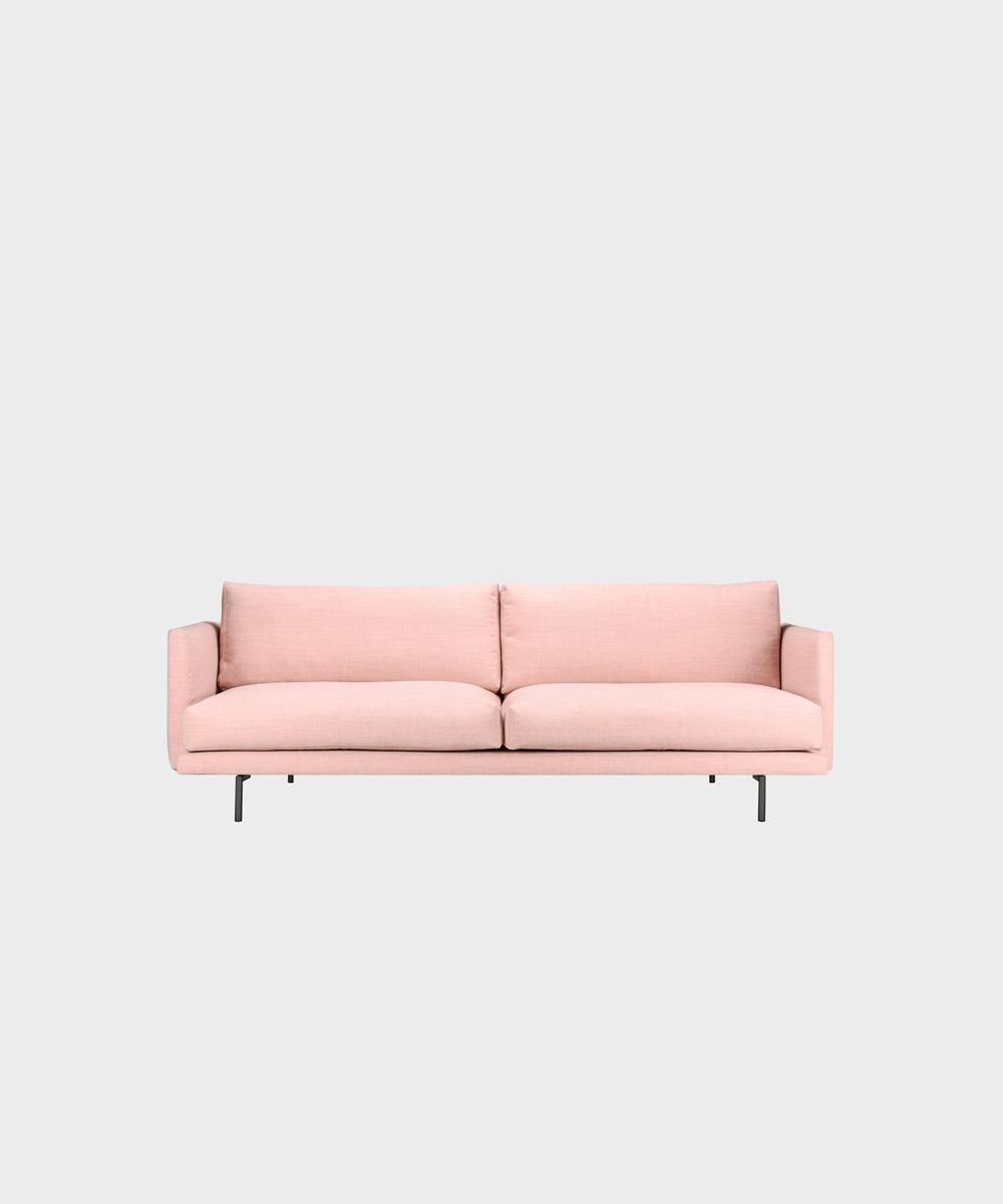 Lazy-sohva vaaleanpunaisella Canvas-kankaalla ja metallijalalla.