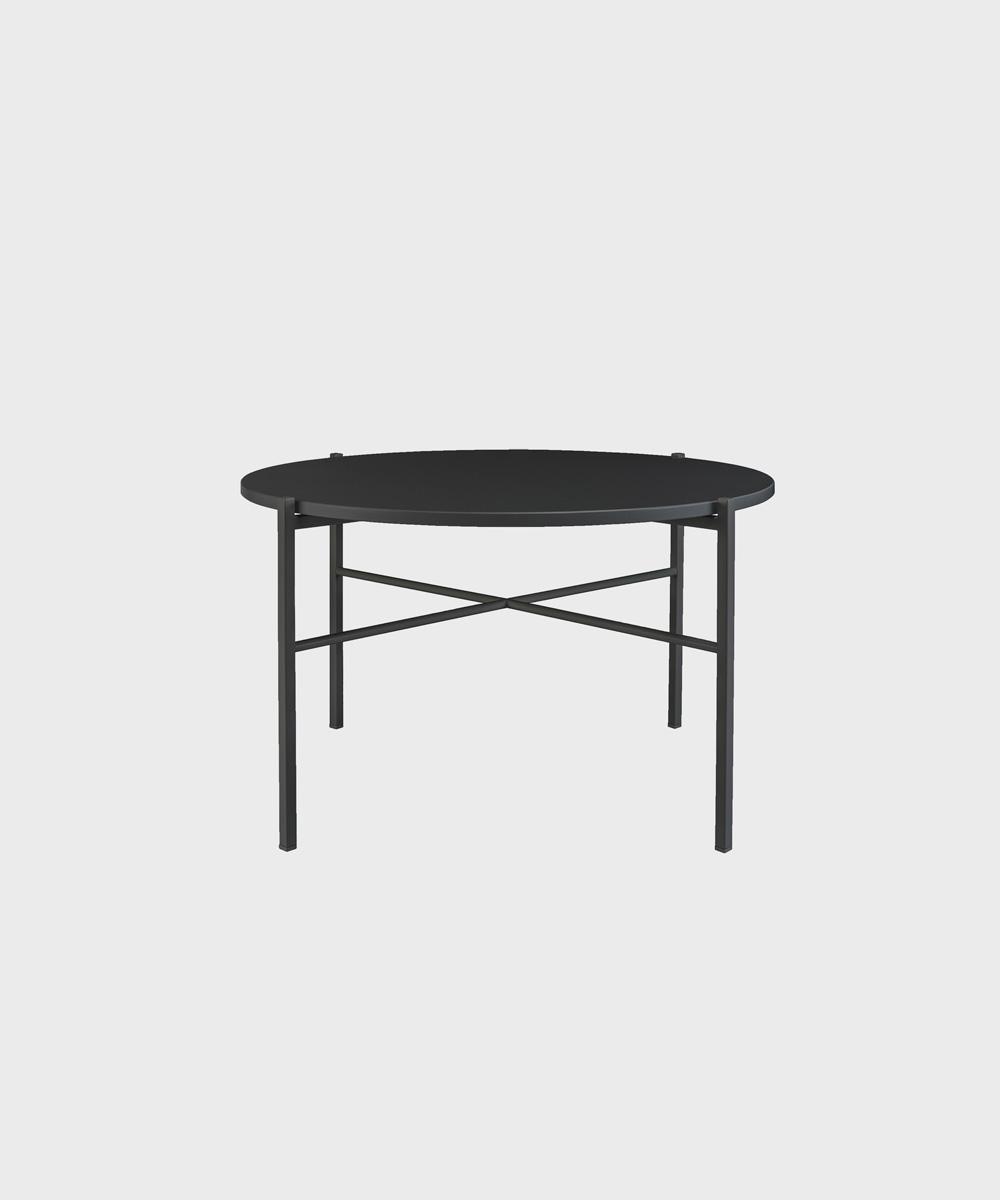 Musta Round-sohvapöytä.