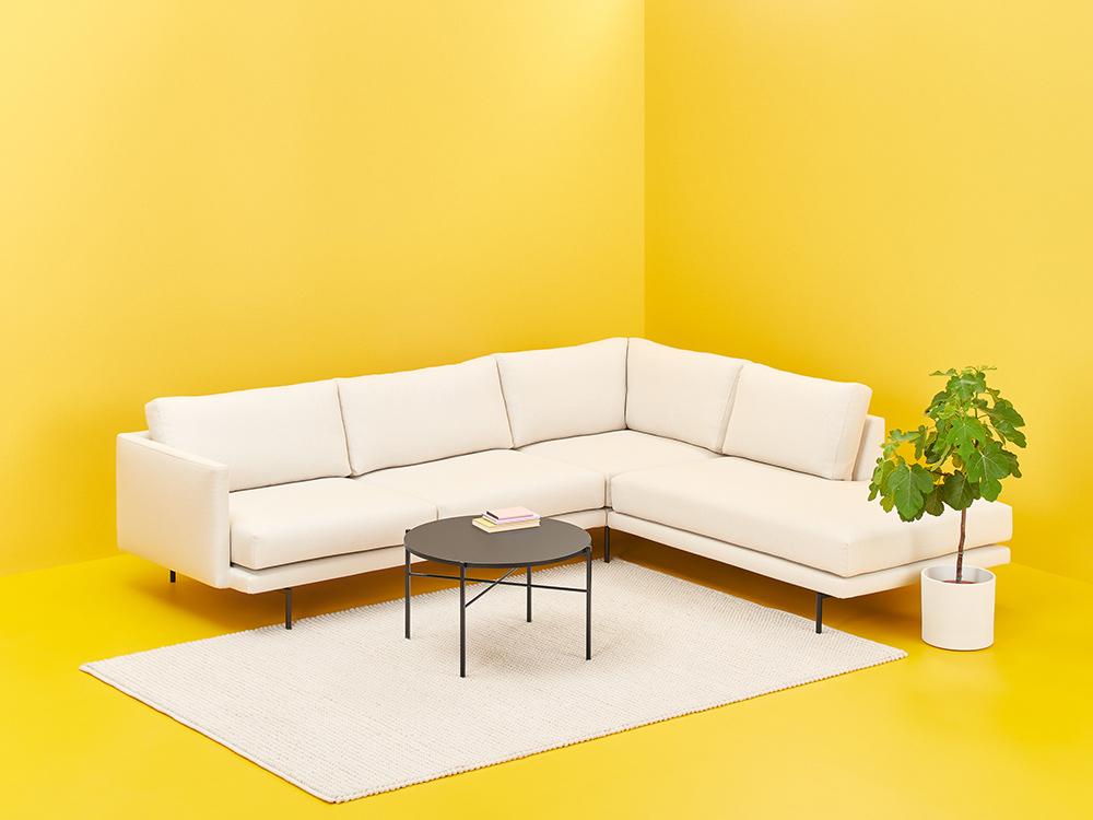Lazy-kulmadivaani ja Round-sohvapöytä