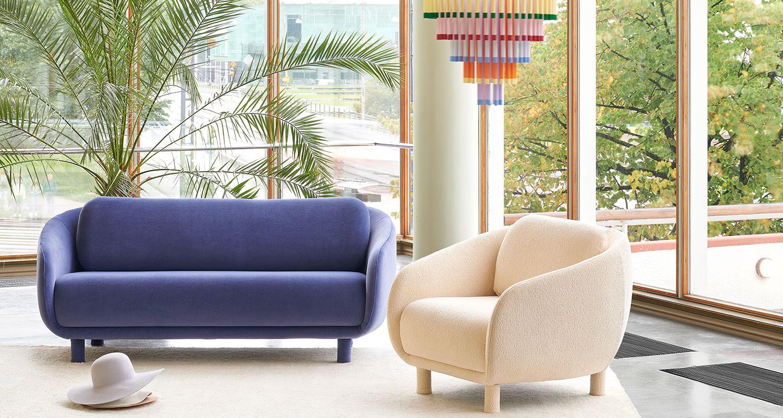 Hakola Bobo 2:n istuttava sohva laventelin värisellä Gentle 2 -kankaalla.