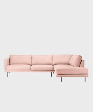 hakola oikeakätinen Lazy Wool -kulmadivaani vaaleanpunaisella Canvas 2 -kankaalla ja mustilla metallijaloilla