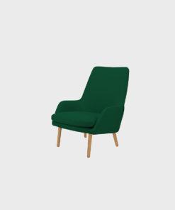 Hakola Day Wool -nojatuoli havun värisellä Hallingdal-kankaalla ja tammijaloilla