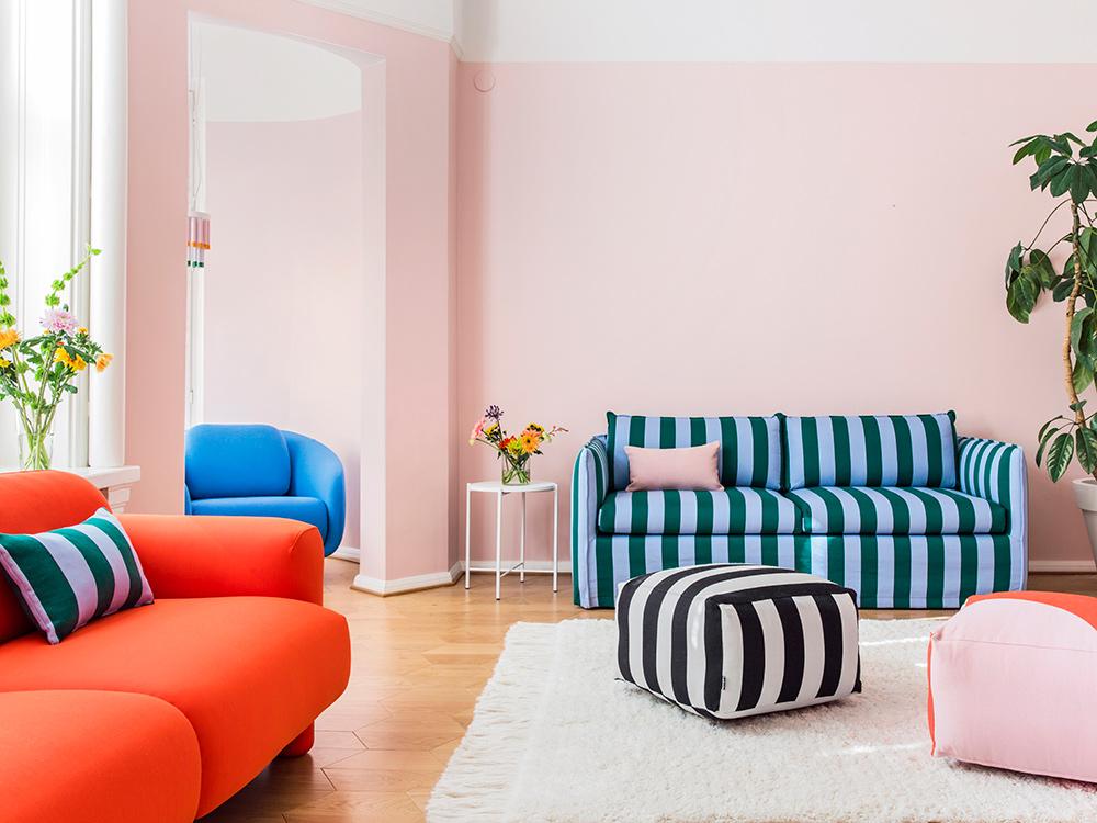 Hakola Filippa Wool -sohva sinivihreällä Jokiraita-kankaalla
