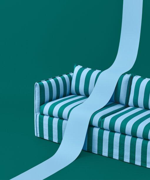 Hakola Filippa Wool -vuodesohva sinivihreällä Jokiraita-kankaalla
