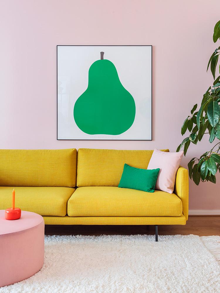 Hakola Lazy Wool 3:n istuttava sohva pomelon värisellä Canvas-kankaalla