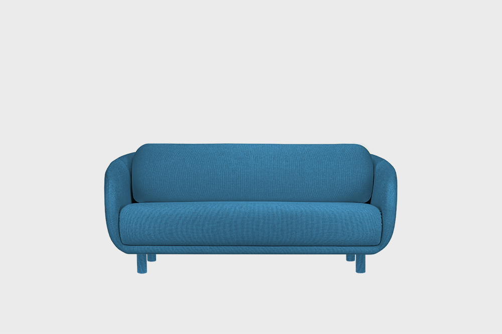 Hakola Bobo Wool pieni -sohva Taivaansinisellä Hallingdal-kankaalla ja koivujaloilla