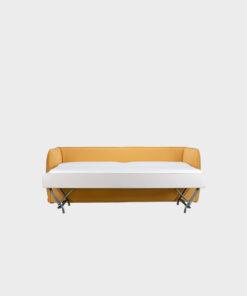 Hakola Filippa Green -sohva keltaisella Urban-kankaalla vuode avattuna